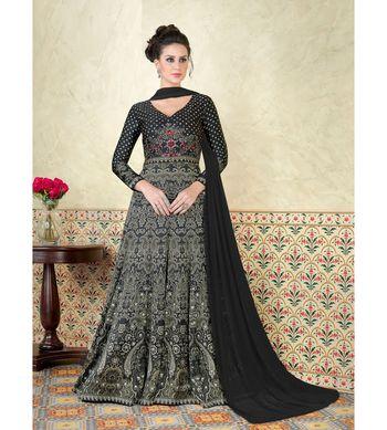 Black Embroidered Satin Semi Stitched Salwar With Dupatta