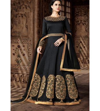 Black embroidered art silk semi stitched salwar with dupatta