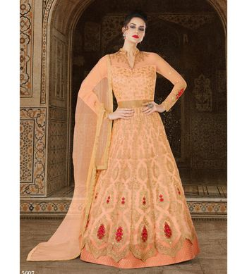 Peach embroidered net semi stitched salwar with dupatta