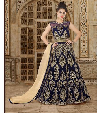 blue embroidered velvet semi stitched salwar with dupatta