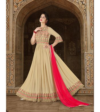 Cream embroidered Satin semi stitched salwar with dupatta