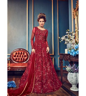 Red embroidered net semi stitched salwar with dupatta