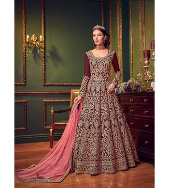 Maroon embroidered art silk semi stitched salwar with dupatta