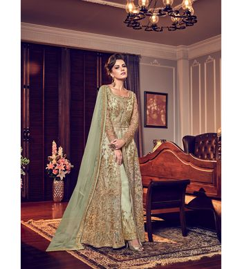 green embroidered net semi stitched salwar with dupatta