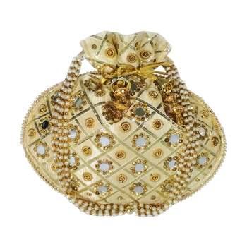 Women's Designer Partywear Bridal Potli Clutch Bag Golden (Single Bag)