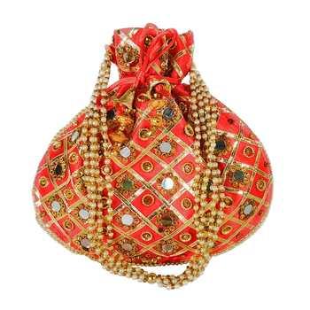 Women's Designer Partywear Bridal Potli Clutch Bag Red (Single Bag)