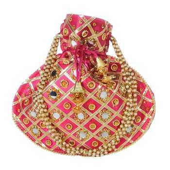 Women's Designer Partywear Bridal Potli Clutch Bag Magenta (Single Bag)