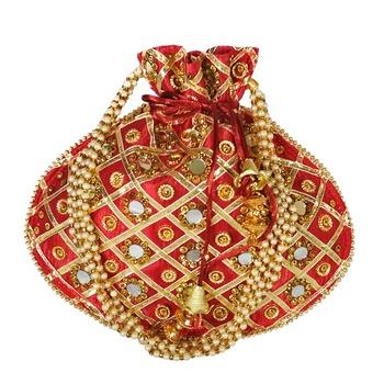 Women's Designer Partywear Bridal Potli Clutch Bag Maroon (Single Bag)