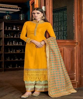 Mustard Embroidered Art Silk Semi Stitched Salwar With Dupatta
