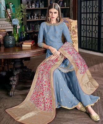 Blue embroidered art silk semi stitched salwar with dupatta