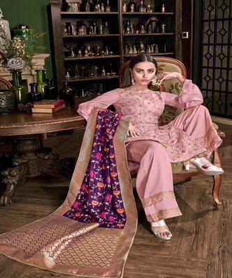 Pink embroidered art silk semi stitched salwar with dupatta