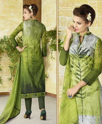 green embroidered cotton semi stitched salwar with dupatta