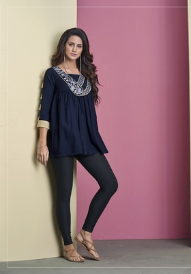 Navy-blue embroidered viscose rayon long-tops