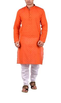 Red woven cotton kurta-pajama