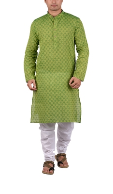 Green woven cotton kurta-pajama