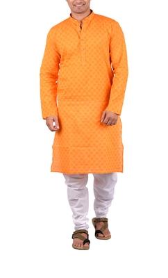 Orange woven cotton kurta-pajama