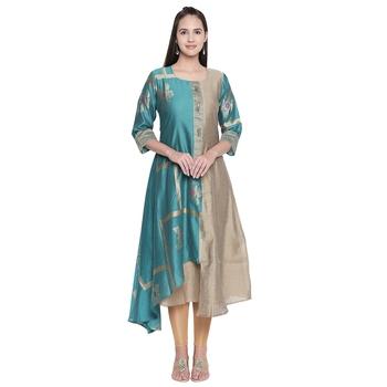 Turquoise embroidered cotton ethnic-kurtis