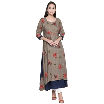 Brown printed cotton ethnic-kurtis