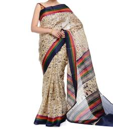 Beige printed jute cotton saree with blouse shop online
