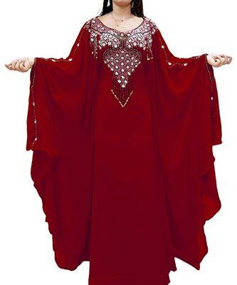 maroon georgette embroidered zari_work islamic kaftans