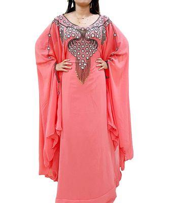 orange georgette embroidered zari_work islamic kaftans