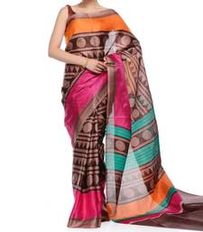 Buy Brown printed jute cotton saree with blouse bhagalpuri-silk-saree online