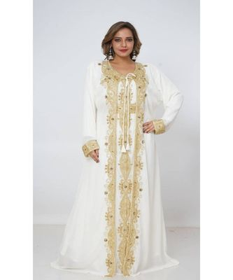cream georgette embroidered zari_work islamic kaftans