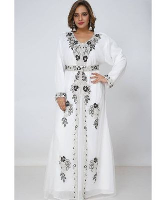 white georgette embroidered zari_work islamic kaftans