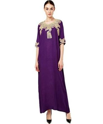 purple georgette embroidered zari_work islamic kaftans