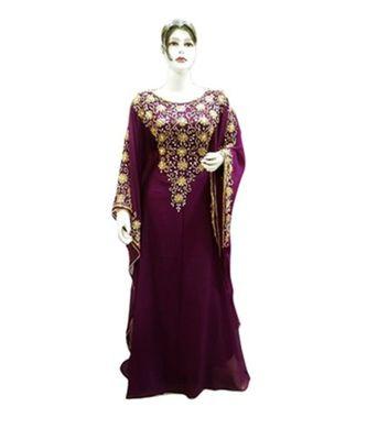 magenta georgette embroidered zari_work islamic kaftans