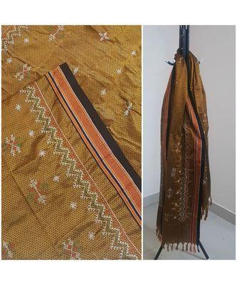Brown handloom khun/khana dupatta with kasuti embroidery