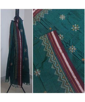 Teal Green handloom khun/Khana dupatta with kasuti embroidery
