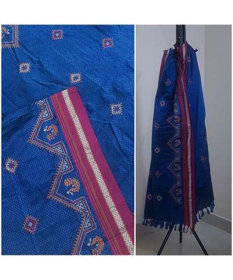 Royal Blue handloom khun/Khana dupatta with kasuti embroidery