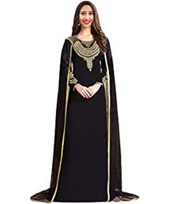 black georgette embroidered zari_work islamic kaftans