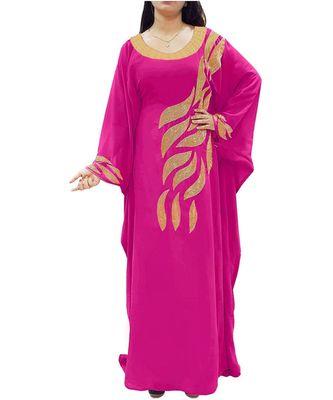 pink georgette embroidered zari_work islamic kaftans