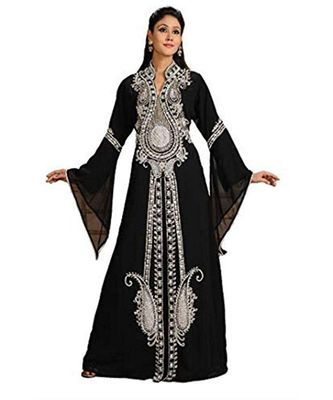 black georgette embroidered zari_work islamic kaftans