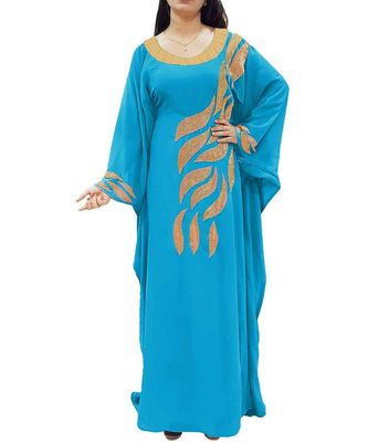 turquoise georgette embroidered zari_work islamic kaftans