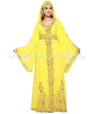 yellow georgette embroidered zari_work islamic kaftans