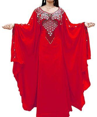 red georgette embroidered zari_work islamic kaftans