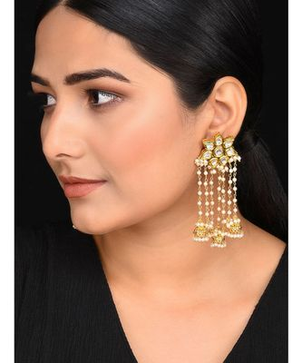 Gold Tone Kundan and Pearls Jhumkis