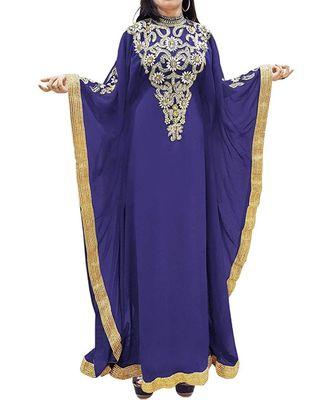 Purple Georgette Embroidered Zari Work Islamic Kaftans