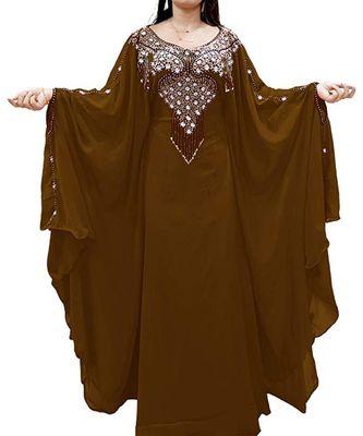 brown georgette embroidered zari_work islamic kaftans