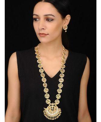 Gold Tone Kundan and Shell Pearls Long Necklace Set