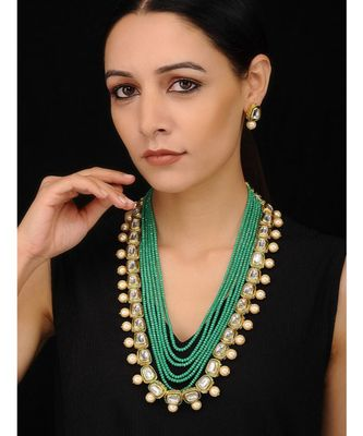 Gold Tone Kundan and Pearls with Green Beaded Necklace  Set