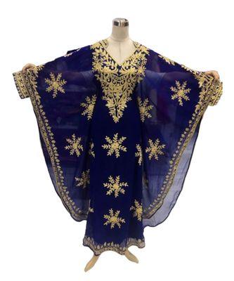 royal blue georgette embroidered zari_work islamic kaftans