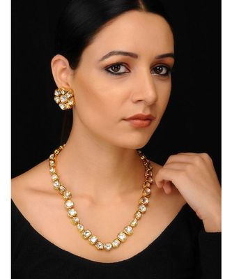 Gold Tone Kundan Inspired Necklace with Floral Studs