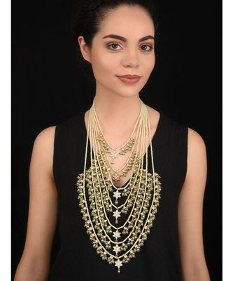 White Gold Tone Kundan with Shell Pearls Rani Haar