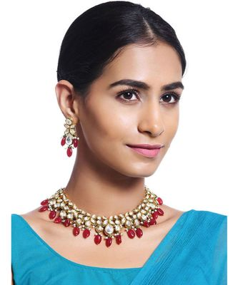 Red Gold Tone Kundan with natural Stones Necklace Set