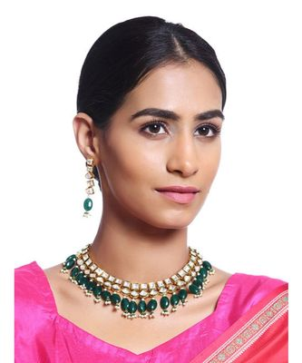 Green Gold Tone Kundan with natural Stones Necklace Set