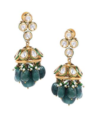 Green Gold Tone Kundan and Onyx Earrings